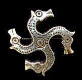 """Fylfot Horse Brooch Replica of Private Collection Artifact 5th - 7th Century  Approx. 1 1/2"""" across  Sterling Silver ... $85 Bronze ... $55"""