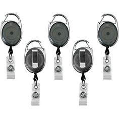 Retractable Badge Holder Translucent Carabiner Reel Clip On ID Card Holders Pack of 5