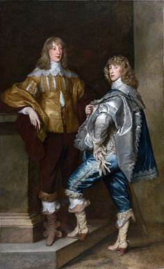 Cavalier Title: Portrait of Lord John Stewart and his brother Lord Bernard Stewart Artist: Anthony van Dyck, 1638 The man on the left is pictured wearing a flat white shirt under a gold coat that is slashed at the top. His breeches are full and have lace decorating the ends of them. His shoes are straight sole funnel boots. His brother in the right is wearing the same thing in blue but has a cape over his shoulder