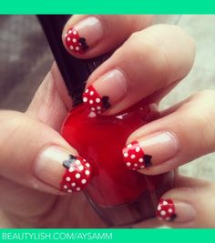 Minnie Mouse Nails, SO going to do this before I go to Disneyland in October