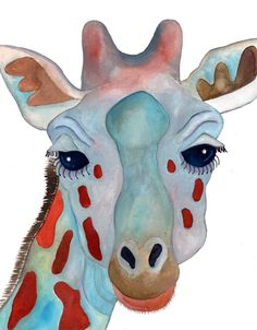 Titled: Godfrey    Original giraffe watercolor painting. Size: 8 x 10 inch.    Signed on the front and back.     $60