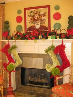 cute stockings and topiaries