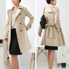Fashion Solid Color Double-breasted Trench Coat with Sash Double Breasted Trench Coat, Online Shopping Mall, Hot Outfits, Love Her Style, Teen Fashion, Style Fashion, Fashion Colours, Indie Brands, Casual Wear