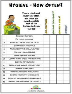 Hygiene – How often? Place a check mark under how often you think you should complete each of the hygiene tasks on the list! Life Skills Lessons, Life Skills Activities, Teaching Social Skills, Counseling Activities, Therapy Activities, Health Activities, Skills List, Counseling Worksheets, Social Emotional Activities