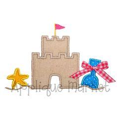 Machine Embroidery Design Applique Beach Sand Castle by tmmdesigns Embroidery Monogram, Machine Embroidery Applique, Applique Patterns, Hand Embroidery Designs, Applique Designs, Embroidery Ideas, Beach Themed Quilts, Beach Sand Castles, Applique Market