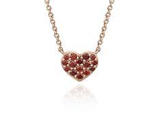 Mini Garnet Heart Pendant in 14k Rose Gold