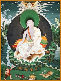 Thangka Painting of the yogi and Buddhist teacher Milarepa famous for his poems and songs about the dharma. Here depicted in an elegant and relaxed pose. Gautama Buddha, Buddha Buddhism, Buddha Art, Tibetan Buddhism, Buddhism Symbols, Nepal Art, Vajrayana Buddhism, Thangka Painting, Tibetan Art