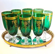 Rare Tiffin Melrose GREEN Franciscan w/Gold Etch 15074 by DsTrove