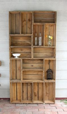 Bookshelf made out of crates.
