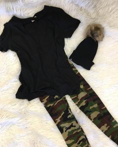 She's a trooper   Oversized Cut Out Top  Camo Print Legging  Rachel Beanie