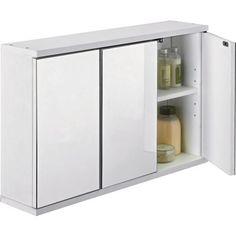 3 Door Mirrored Bathroom Cabinet White