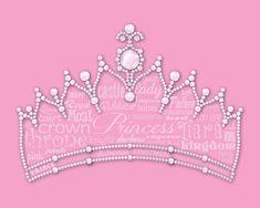 PERSONALISED Princess Tiara Word Art Wall Print Gift Idea Crown Daughter Girls