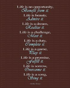 LIFE IS Inspirational Wall Art Quote by Mother Teresa, by OurSecretPlace, $15.00