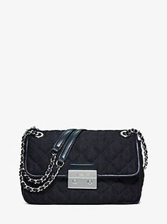 Sloan Large Quilted-Denim Shoulder Bag by Michael Kors