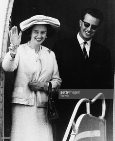 Queen Fabiola and King Baudouin of Belgium waving as they board their plane following a state visit to London, May 17th 1963.