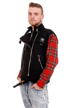 NEW - Zip Jacket by Tiger Of London- Black with Red  Arms #ayp #punk