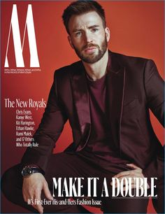 Chris Evans covers W magazine in a Berluti tuxedo with a Simon Miller t-shirt.