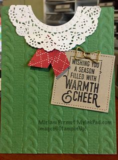 Stampin' Up! Cable knit embossing folder sweater Christmas card