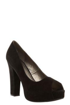 Tricia Black Suede Peep Toe Heels (Wide Width)