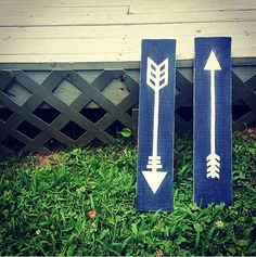 Navy and White Arrows Hand Painted on Wood by WestwardNotions