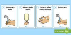 Plakaty Instrukcja mycia rąk - ręce, rąk, dłonie, dłoni, woda, higiena, instrukcje, dłoń, mycie, umyć, higieny, łazienka, z Free Teaching Resources, Videos Funny, Classroom, How To Plan, Education, Diy, Speech Language Therapy, Tejidos, Projects