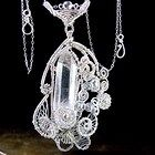 Ornate Raw Quartz Crystal Silver Wire Wrapped Pendant Necklace