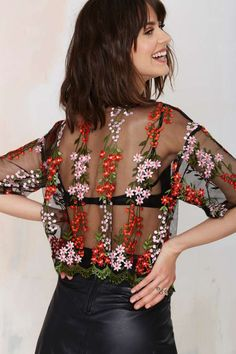 Glamorous Flower Powers Embroidered Top - Shirts + Blouses