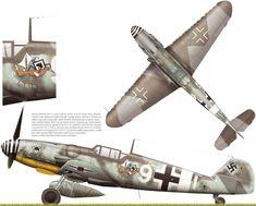 """Messerschmitt Bf.109G - 6 """" Seamann """" 7. / JG 53 ( W.Nr.18107 ) Uffz . Georg Amon . Sciacca , Sicilia , junio de 1943. En esta nave fue derribado y hecho prisionero de guerra en 03 de julio 1943 Uffz.Walter Reinicke . El 109 fue construida en abril o principios de mayo de 1943 en la fábrica Messerschmitt , de Ratisbona. Nota esquema de pintura simplificada típico para Bf.109G - 6 : RLM74 / 75 /76. Artista: © Anders Hjortsberg."""