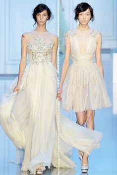 Beautiful ivory gown on the left and a pretty cocktail dress on the right.