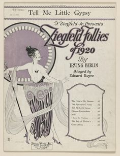 """""""Today in Florenz Ziegfeld staged first """"Follies"""" revue in New York City. Irving Berlin sheet music from Harlem Renaissance, Chinese Firecrackers, Irving Berlin, Ziegfeld Follies, Ziegfeld Girls, Art Deco, Cotton Club, 1 Live, Vintage Sheet Music"""