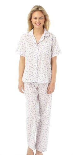 b3de10d78b Ladies Marlon Nightwear Poly Cotton Short Sleeve Floral Pajamas MN14 Pjs  eBay