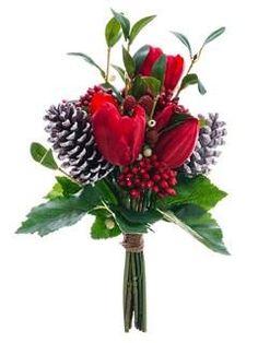 Faux Tulip/Mistletoe/Cone Bouquet in Red Green