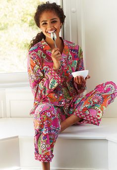 Vera Bradley Fall 2014:  Pajama Pants and Top in Pink Swirls. #BrightestYearEver - #MySuiteSetupSweepstakes