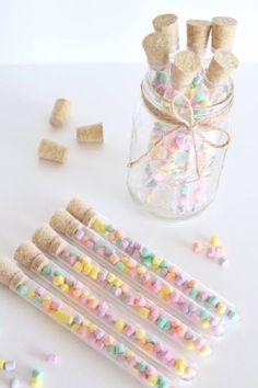 10 x Plastic Test Tubes With Cork Wedding Favour / Party Favour / Candy Jar
