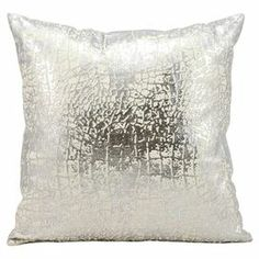"""Add a lovely touch to your master suite or living room with this eye-catching pillow, showcasing a foil-print motif in silver.  Product: PillowConstruction Material: Cotton cover and polyester fillColor: SilverFeatures:  Foil-print motifInsert includedDimensions: 18"""" x 18""""Cleaning and Care: Spot clean"""