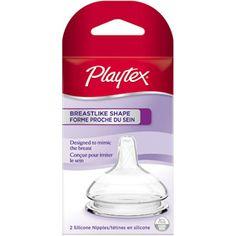 Playtex Breastlike Baby Bottle Nipple, Slow Flow, 2-Pack, BPA-Free