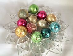 $38 - By CoolOldStuffForSale . . . Wonderful collection of one dozen colorful mercury glass ornaments in the original box, 7 wrapped with wire mesh netting and 5 without. With original box!
