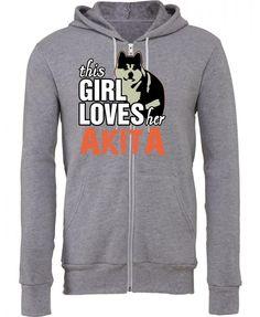 this girl loves her akita Zipper Hoodie