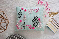 Mini Pom Pom Pillow DIY  - A Beautiful Mess