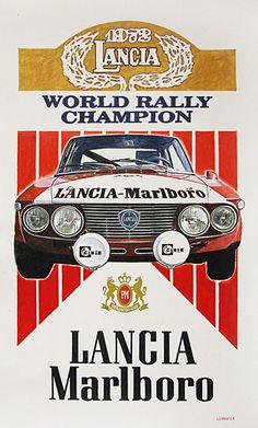 Lancia Marlboro World Rally Champion Vintage Racing, Vintage Ads, Vintage Posters, Vintage Advertisements, Vintage Metal, Course Automobile, Classic Race Cars, Retro Advertising, Car Illustration