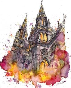 Beautiful Watercolor Paintings by Akihito Horigome from Tokyo, Japan. Watercolor Architecture, Architecture Drawings, Indian Architecture, Amazing Architecture, Watercolor Sketch, Watercolor Paintings, Watercolours, Art Sketches, Art Drawings