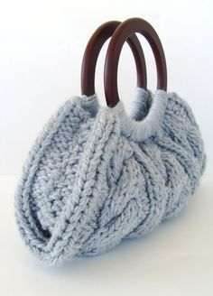 Cable Knit Purse With Wooden Handles - Grey. $40.00, via Etsy.