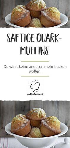 Magdalenas Quark - ¡Jugosas y esponjosas, estas son nuestras mejores magdalenas de quark! Simple Muffin Recipe, Healthy Muffin Recipes, Healthy Muffins, Donut Recipes, Clean Eating Recipes, Cake Recipes, Muffins Sains, Baby Muffins, Freeze Dried Raspberries