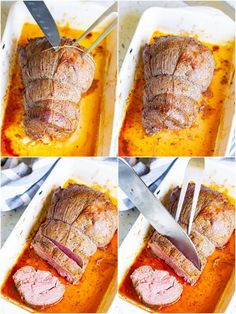 This impressive Roast Beef Tenderloin with Red Wine Sauce is melt-in-your-mouth delicious and perfect for any special occasion or celebration. Beef Tenderloin Recipes, Roast Beef, Round Roast, Wine Sauce, Paleo Whole 30, Roasting Pan, Roasted Potatoes, Gluten Free Recipes, Food Food