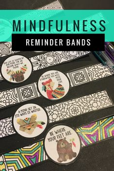 These bands serve as a reminder of mindfulness behaviors for students. Students color and wear the bands. These are part of a mindfulness resource which also includes a colorful banner and DIY mindfulness pennants for students to create. #mindfulness #mindful #schoolcounselor #schoolcounseling