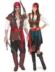 Déguisement couple pirate luxe : Déguisement femme :Ce déguisement de pirate pour femme comporte une jupe, une ceinture, un bustier, un gilet et un bandeau. La jupe est habillée d'un tissu...