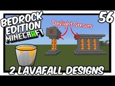 2 Daylight Sensor Lavafall Designs Tutorial I can imagine with some pistons, you can switch between water in the day, lava at night. Minecraft Bridges, Minecraft Videos, How To Play Minecraft, Minecraft Projects, Minecraft Crafts, Minecraft Buildings, Minecraft Redstone Tutorial, Pokemon, Pocket Edition