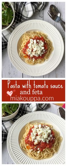 Pasta with tomato sauce and feta. Simple and simply delicious! Ragu Pasta Sauce, Pasta Sauce Recipes, Vegetarian Food, Healthy Food, Healthy Eating, Greek Cooking, What's Cooking, Easy Dinner Recipes, Easy Meals