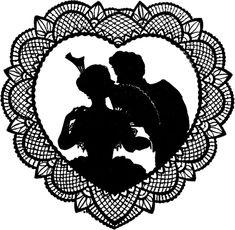 Pretty Lace Valentine Silhouette! - The Graphics Fairy