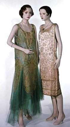 Worth - Evening Dress 1928-29.  Hand-sewn tulle, with hand-embroidered iridescent sequins. http://collections.vam.ac.uk/
